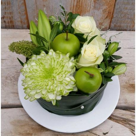 Bloemen-taart-middel wit compleet